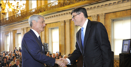 Treasury Secretary Lew and former Secretary Rubin at the CDFI Fund's 20th Anniversary Event